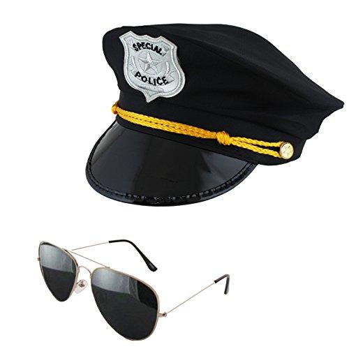 Sonia Originelli Polizei Hut Mütze Karneval Fasching Officer Sonnenbrille JGA (Polizei 20 Officer Kostüm)