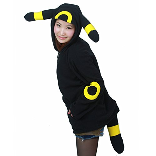 Pokemon Cosplay Anime Costume Umbreon Ears Tail Coat Sweatshirt Hoodie Jacket M