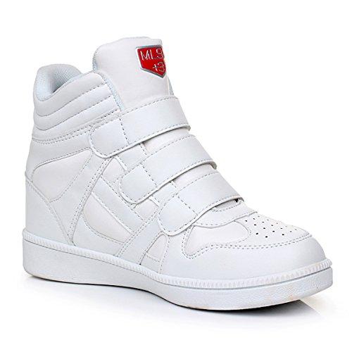AFFINEST Femmes Dames Cheville Invisible haut-dessus Wedge Chaussures Bottes Baskets Pompes Blanc