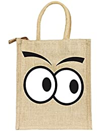 Deshi Decor, Multipurpose Jute Lunch Bag for Office Executive Men/Women/Girls/Unisex/Adult with Zip, (Googly Cartoon Eyes-Black, Dimensions:Size, Height= 12, Length= 10, Width= 5 inches)