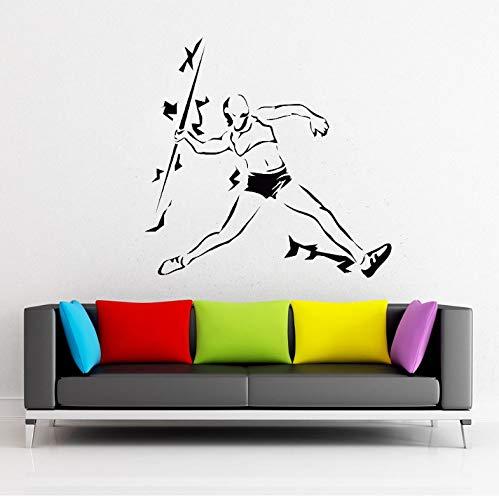DongOJO Leichtathletik Speer Werfen Sport Vinyl Wandtattoo Kunst Aufkleber Wettbewerb Athlet Aufkleber Home Schlafzimmer Dekoration Schule Aufkleber 43x42 cm -