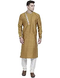 9a04b9010d RG Designers Khaki Cotton Blended Self Designed Kurta Pyjama Set for Men