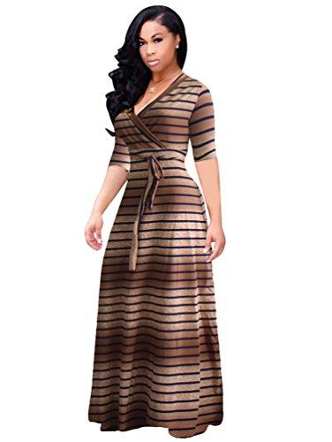 YiLianDa Womens Boho V-Ausschnitt Blumen 3/4 Ärmel Langarm Maxi Langes Kleid als Bild