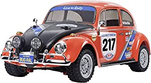 Tamiya 58650 58650-1:10 RC VW Beetle Rally MF-01X - Coche teledirigido (construcción de maquetas, aficiones, Construir, sin lacar)