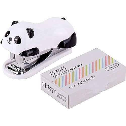 mini kawaii miniaturas kawaii Mini Grapadora Animado, Incluye Caja de 1000 Grapas, Forma de Panda 6 x 2.5CM Pequeña Set Escuela Material de Oficina Papelería Encuadernación Carpeta Libro