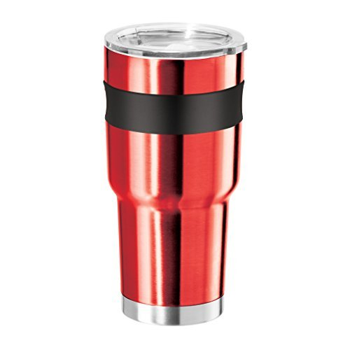 Oggi Contour X-Large Double Wall Vacuum Sealed Stainless Steel Tumbler with Liner Thermal Travel Mug, 30 oz, Red by Oggi Double Wall Tumbler