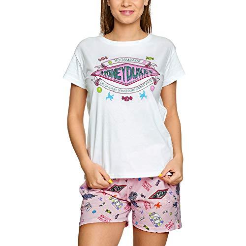 Harry Potter Damen Pyjama Honeydukes Logo kurz Elbenwald Baumwolle weiß rosa - M