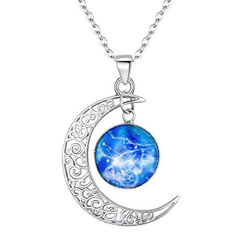 Clearine Halskette Damen 925 Sterling Silber Horoskop Tierkreis 12 Konstellation Astrologie Galaxis & Halbmond Mond Glas Bead Anhänger Hals-Schmuck Widder