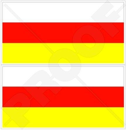 Südossetien ossetische Flagge 7,6cm (75mm) Bumper Sticker, Aufkleber Vinyl X2