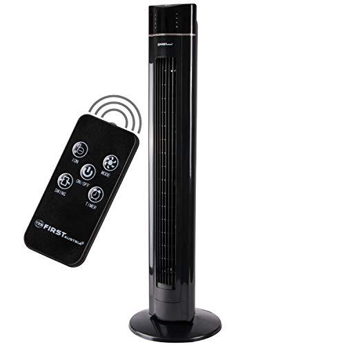 TZS First Austria - 60 Watt 109 cm Säulenventilator mit Fernbedienung | Timer bis zu 7 Std | Oscillation | Duftfach | Ionen-Funktion entfernt Feinstaub | Turmventilator | Towerventilator | schwarz