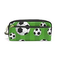 MyDaily Green Striped Pencil Case Soccer Ball Football Pen Bag Pouch Coin Purse Cosmetic Makeup Bag