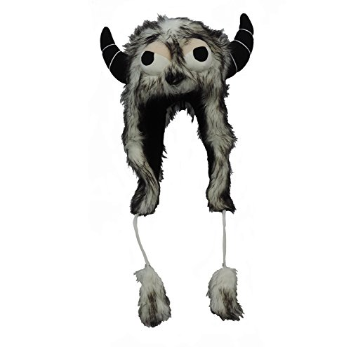 Monster Inc Kostüm Herren - Bauer Pacific Imports Monstermütze, Kunstfell, mit Augenbällen und Hörnern, Schwarz/Weiß