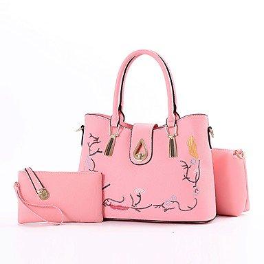 Damenmode PU Leder Schulter Messenger Crossbody-tasche Sets/Handtasche Tote Blushing Pink