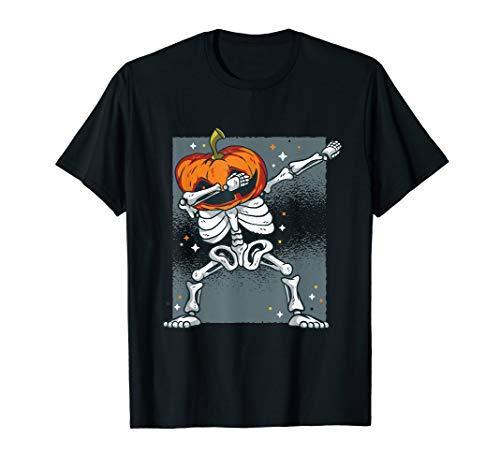 Halloween Shirt Grusel Deko Dabbing Dab Skelett Kürbis Kopf T-Shirt