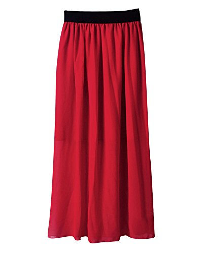 Damen Tüllrock Falten Retro Maxi langer Rock-elastischen Bund Sommer Rock Höhe Taille Chiffon A Line Lang Röcke Rot