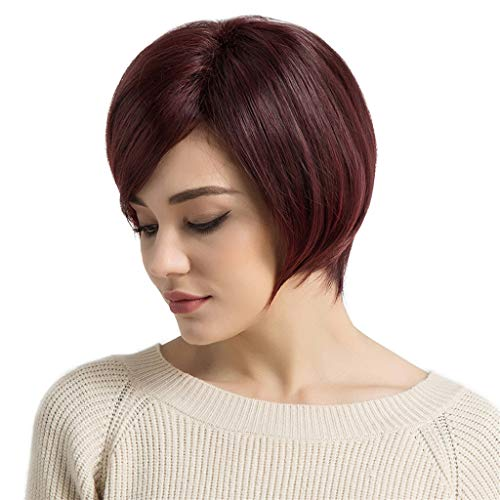 GROOMY Femmes Perruque Syntheic Cheveux Lady Bob Style Court Mode Vin Rouge pour L'Afrique L'Amérique