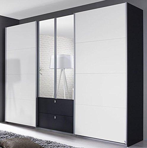 Dreh-/Schwebetürenschrank grau metallic weiß 4-trg B 271 cm Jugend Schlafzimmer Drehtüren Wäsche Spiegel Kleiderschrank Schiebetürenschrank
