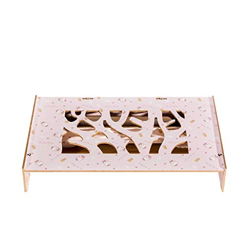 Notebook-Display Erhöht Schreibtisch Lagerregal Erhöht Basis Holz Multifunktions Verstellbare Unterstützung (47x26x8cm) ## (Color : Pink) -