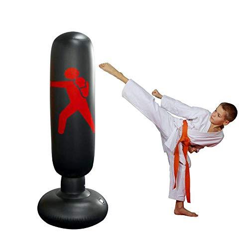 Womdee Saco de Boxeo para Mujer, Inflable, Saco de Boxeo y Saco de Boxeo con Base Gruesa, lo Suficientemente Fuerte como para Niños y Adultos, Ejercicio y Alivio del Estrés, 160 Cm, Negro