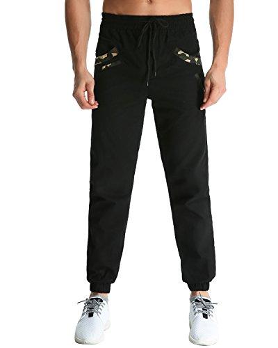 MODCHOK Herren Jogginghose Chino Cargo Jogging Hose Freizeithose Sweatpants Fit Schwarz