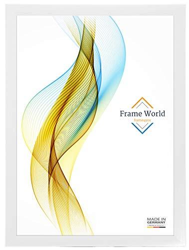 Frame World FW35 Bilderrahmen für 97 cm x 137 cm Bilder, Farbe: Weiss-gemasert, MDF-Holz Rahmen nach Maß mit entspiegeltem Acrylglas, Aussenmaß: 102,6 cm x 142,6 cm