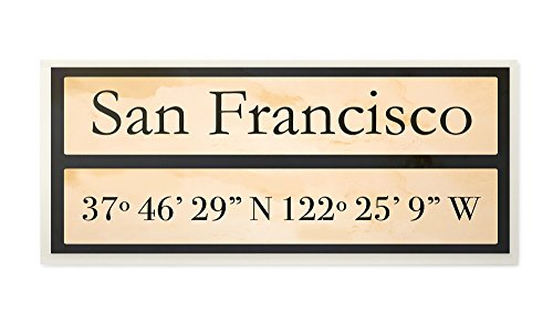 Die Stupell Home Decor Kollektion City Koordinaten San Francisco Wandschild Art, 7 x 0,5 x 17, Stolz Made in USA, Holz, Multi, 17.78 x 1, 27 x 43,18 cm - City-art-giclee Canvas