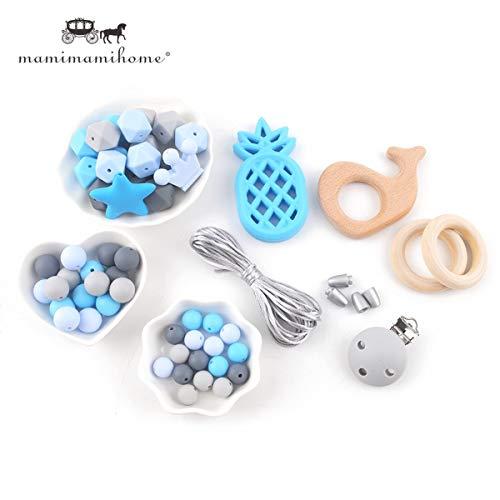 lege Armband Silikon-Teether Halskette Schnuller-Clips Holzring Zahnen Perlen Baby Spielzeug Baby-Duschen-Geschenk ()