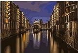 GYHJNK Malen Nach Zahlen Hamburg City Night Landschaftsmalerei Färbung Nach Zahlen Digital Handgemalte Leinwand Malerei Für Wohnkultur Rahmenlos 40x50cm