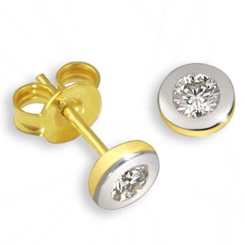 Goldmaid Damen-Ohrstecker 585 Bicolor Gold 2 Diamanten 0,10ct Ohrringe Brillanten Schmuck