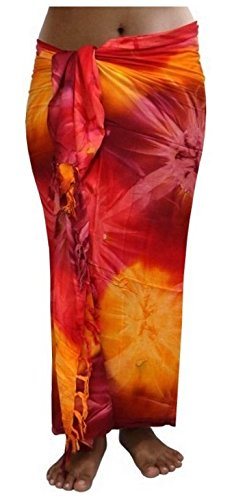 ca.100 Modelle im Shop Sarong Strandtuch Pareo Wickelrock Loop rot orange Sar88