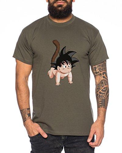 WhyKiki Dragonball Son Goku Baby Nerd Herren T-Shirt in Verschiedenen Farben, Farbe:Khaki;Größe:L