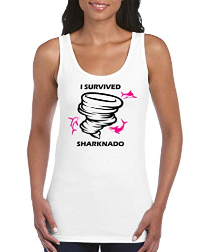 Comedy Shirts - I Survived Sharknado - Damen Tank Top - Weiss/Schwarz-Pink Gr. S