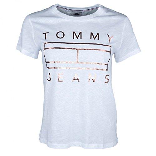Tommy hilfiger t- shirt donna flag clean logo tee xl bianco