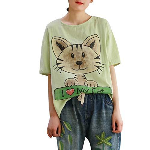 Toby Damen Sommer Mode Cat Drucken Kurzarm-T-Shirt Freizeit Lose Bequem Frau Sexy T-Shirt Oberteil(Hellgrün,M) Toby Tee