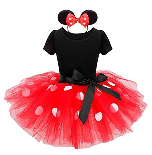 Jastore Mädchen Kostüm Kinder Karneval Kostüm Set Faschingsfest Kleid Ballettanzug Haarreif mit Maus Ohren (Rot, 70 (6-12 Monate))