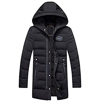 ibaste herren daunenjacke mit kapuze 90 weisse daunen verdickt lang warm parka jungen jacke. Black Bedroom Furniture Sets. Home Design Ideas
