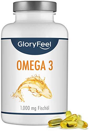 GloryFeel® Omega 3 Kapseln 1000mg - 400 Kapseln - VERGLEICHSSIEGER 2019* - 180mg EPA und 120mg DHA pro Omega-3 Softgel-Kapsel - Laborgeprüfte Herstellung in Deutschland