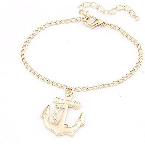 Wrone (TM) il braccialetto dei monili 1PC donne degli uomini a mano in lega di Anchor Charm Wristband braccialetto - Lega Wristband