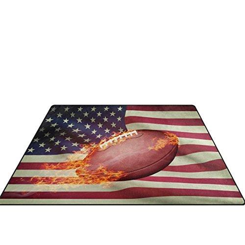 doshine Bereich Teppiche Matte Teppich 4'X5', American Football USA Flagge Polyester rutschfest Wohnzimmer Esszimmer Schlafzimmer Teppich Eingang Fußmatte Home Decor, multi, 5'x7' (5x7 Teppich Rutschfest)