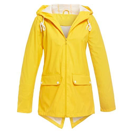 Deloito Regenjacke Damen Draussen Windbreaker Freizeit Sportbekleidung Einfarbig Übergröße Jacke Winddicht Lose Mantel Mit Kapuze (Gelb,Medium)