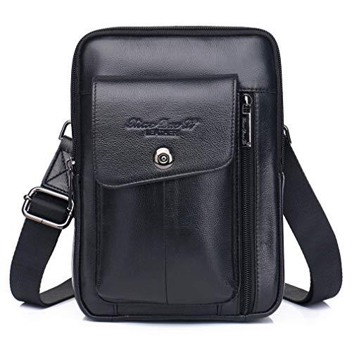 WYJW Vintage Leder Schulter Messenger Bag für Männer Rucksack Crossbody Pack Brieftasche Satchel Sling Brust Taschen Day Pack Rucksäcke Reiten Reisen Wandern