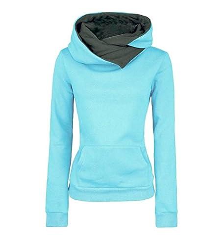 Schiveen Damen Casual Kapuzenpullover Hoodie Langarm Sweatshirt (S, Blau)