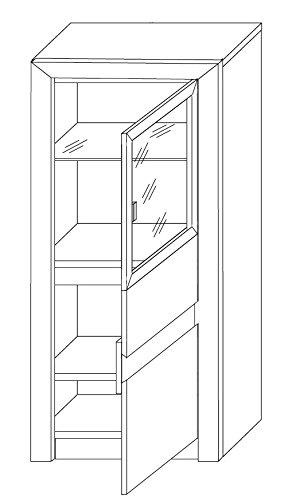 trendteam SV03445 Vitrine Wohnzimmerschrank Eiche Sonoma hell, Glas brüniert, BxHxT 64x133x38 cm - 6