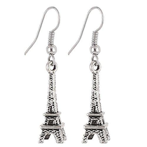 sourcing map Eiffelturm Dekor Schlenker Angelhaken durchbohrten Ohrringe Silber Ton Paar de DE de (Eiffelturm Ohrringe)