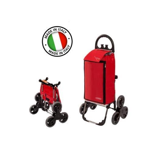Treppensteiger Einkaufstrolley Amalfi in Rot mit 50L & Kühlfach - Einkaufsroller Trolley bis 30kg belastbar - Gewicht nur 2.5kg Made in Italy