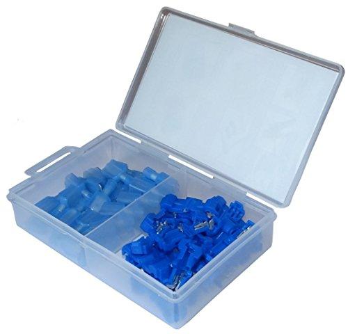 Aerzetix: Assortiment de 50 cosses électriques plate mâle 6.3mm connecteur raccord rapide 1.5-2.5mm2 bleu