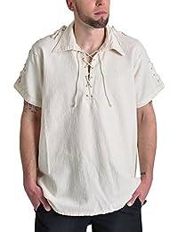 Chemise médiévale pour homme manches courtes cordelette sur les manches coton écru
