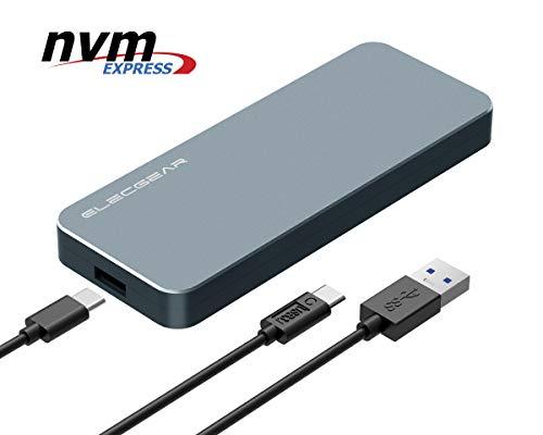 USB 3.1 Adattatore Esterno per NVMe M.2 SSD Disco Rigido - ElecGear NV-i9 Alluminio Enclosure Custodia Box, PCIe 2280 M-Key NGFF HDD Hard Disk Adapter, 10Gbps NVMe M2 USB C Case, Tipo A e C cavo