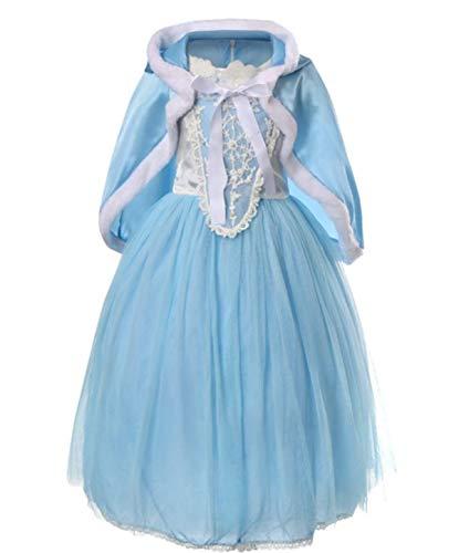 YOGLY Mädchen Prinzessin Elsa Kleid Kostüm Eisprinzessin Set aus Diadem, Handschuhe, Zauberstab, Größe 110, 02 Kleid und - Prinzessin Winter Kostüm