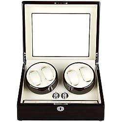 Excelvan R2462EB Uhrenbeweger Uhrenvitrine Uhrenbox Rectangle Mute Automatische Uhrenbeweger Watch Winder für 4 Uhren mit Lock